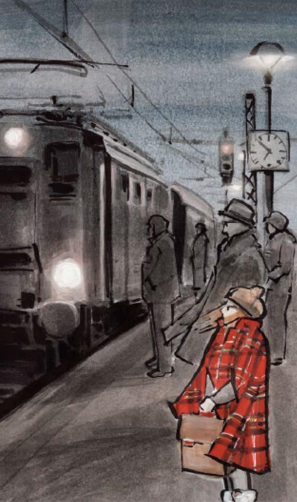 Illustration Am Bahnhof - aus Tante Karos Gefühl für Stil
