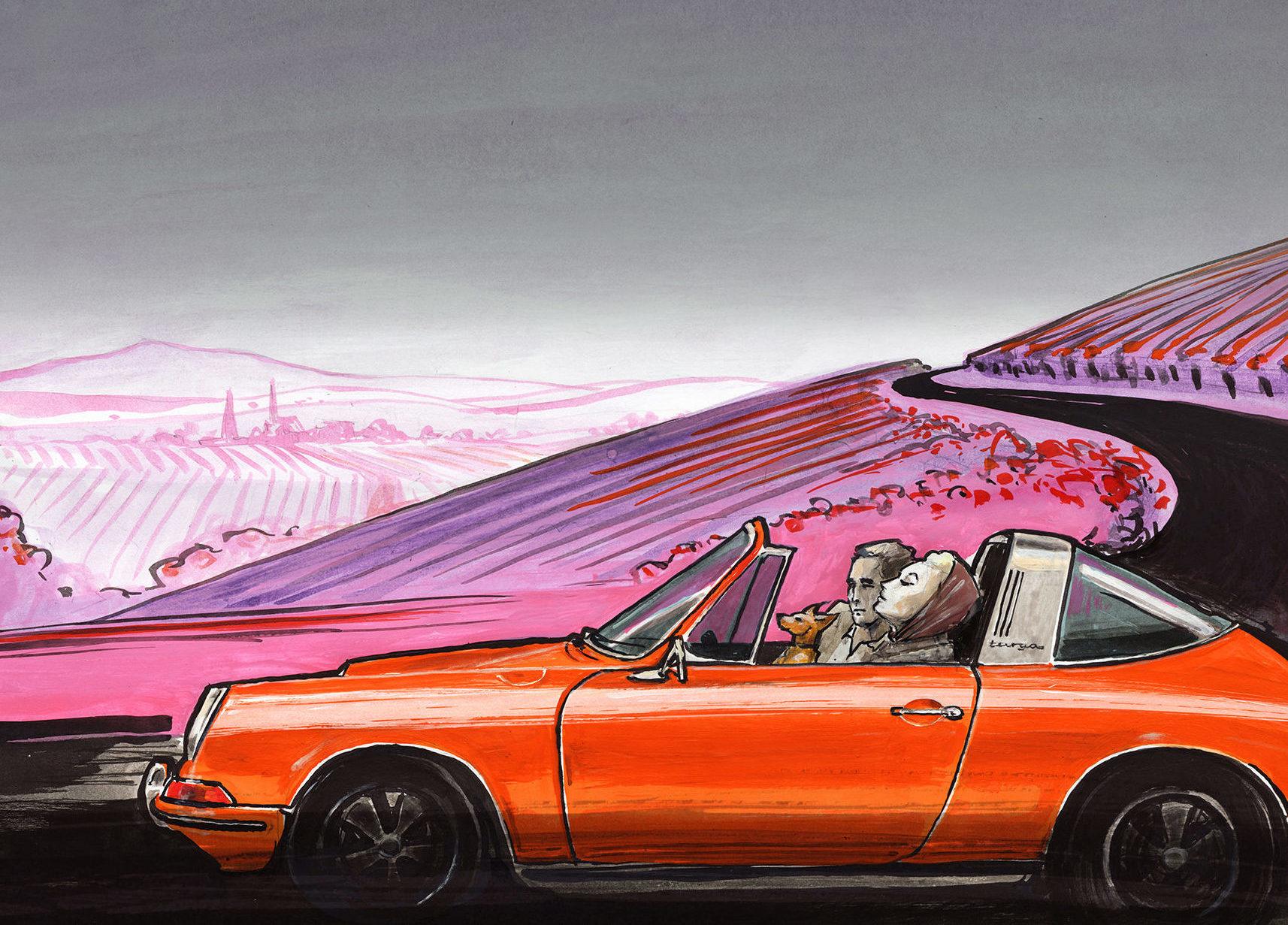 Illustration Porsche in Tante Karos Gefühl für Stil
